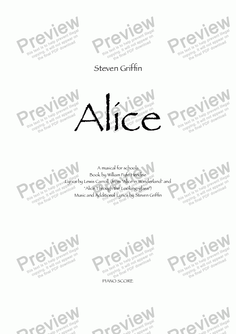page one of Alice - a musical for schools (VOCAL SCORE)