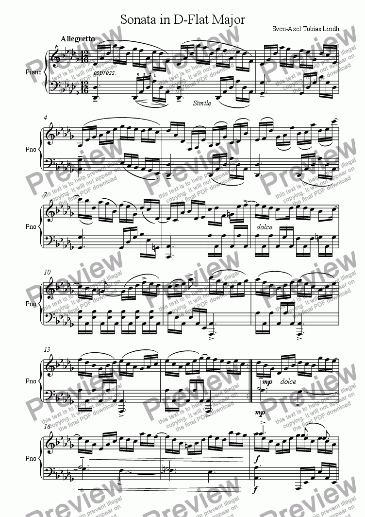 page one of Sonata in D-Flat Major