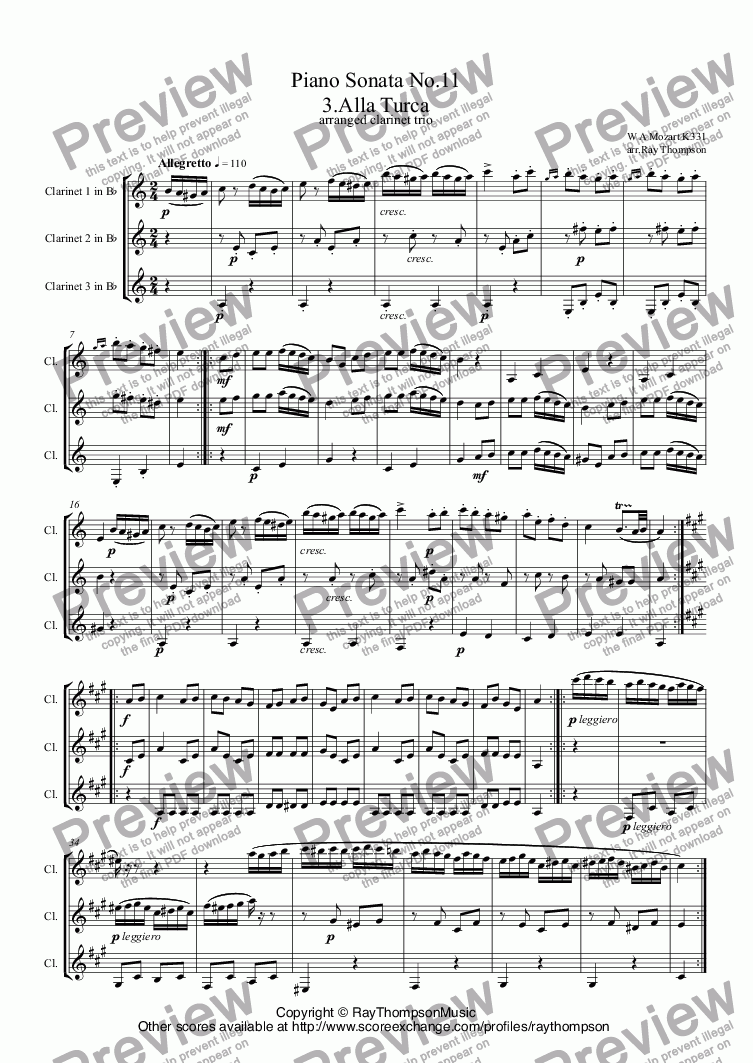 page one of Piano Sonata No.11 in A K331: III.Rondo Alla Turca (Turkish March) arranged clarinet trio