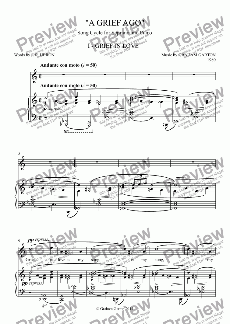 A Grief Ago I Grief In Love Song Cycle For Soprano And Piano