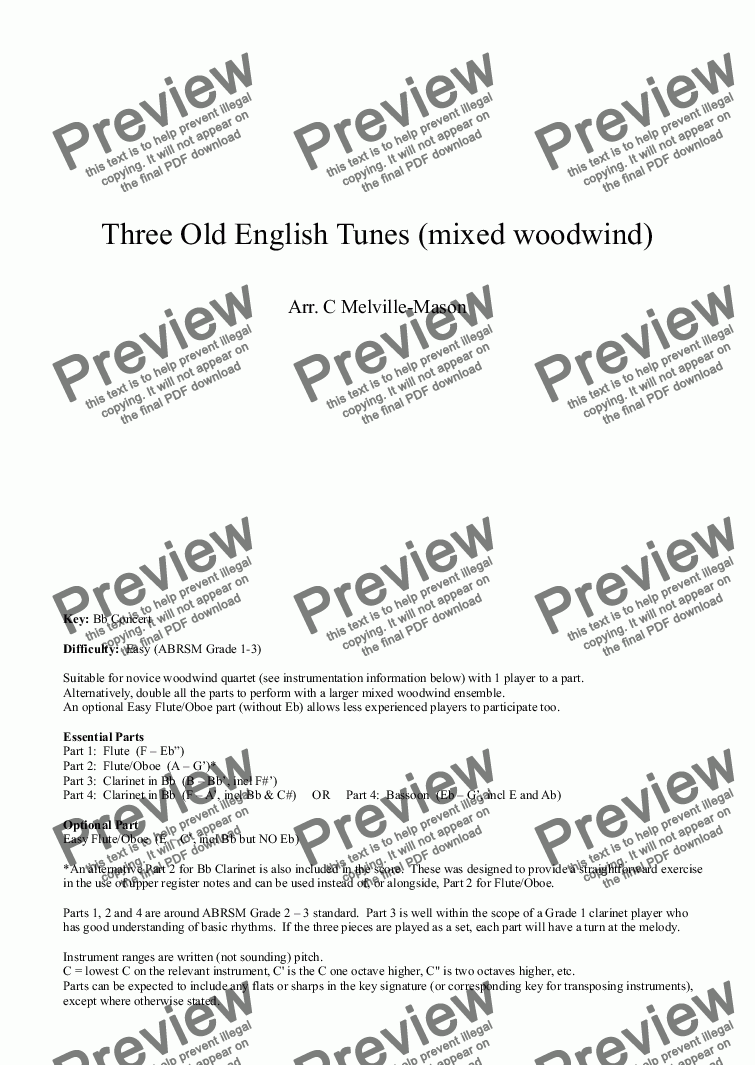 page one of Three Old English Tunes (semi-flexible woodwind quartet)
