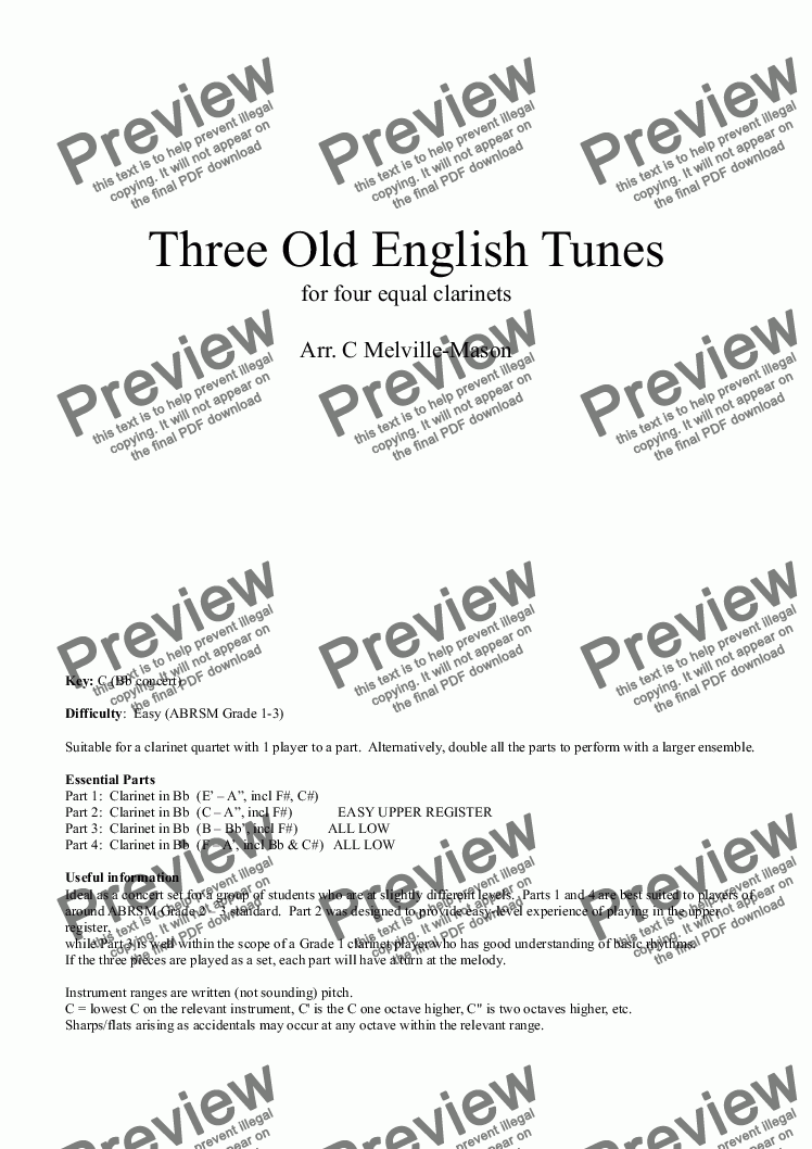 page one of Three Old English Tunes (4 Clarinets)ASALTTEXT