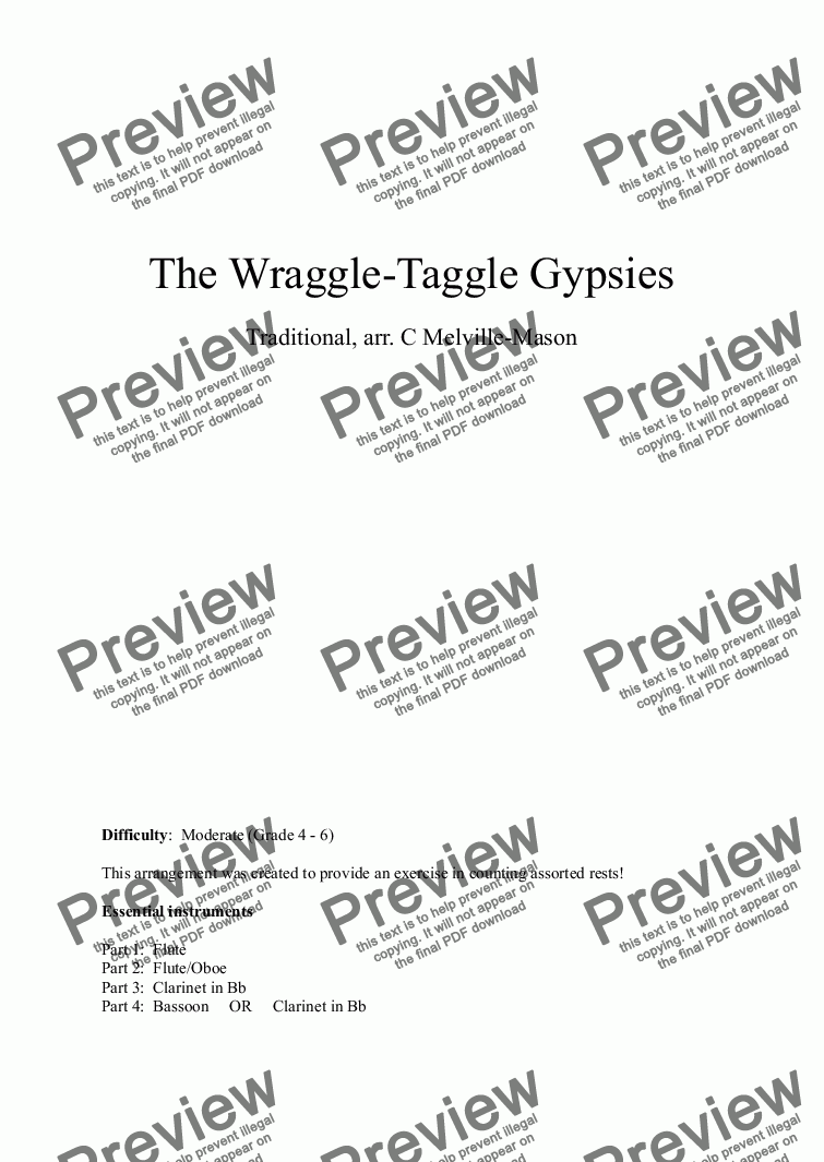 page one of The Wraggle-Taggle Gypsies (fl, fl/ob, cl, cl/bn)