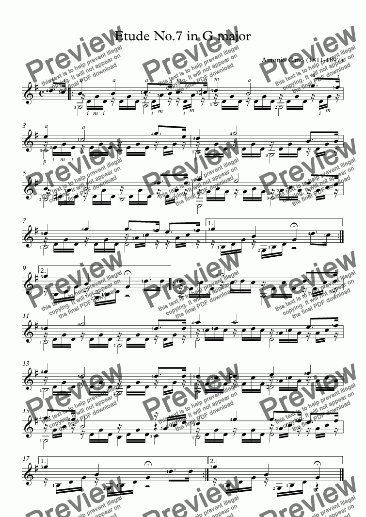 page one of Cano - Etude No.7 in G major (Guitar Solo)