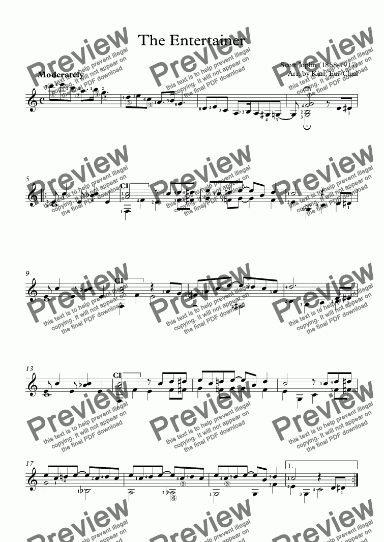 The Entertainer (Guitar Solo) for Solo instrument (Classical Guitar  [notation]) by Scott Joplin (1868-1917) Arr  by Kim, Eui-Chul - Sheet Music  PDF
