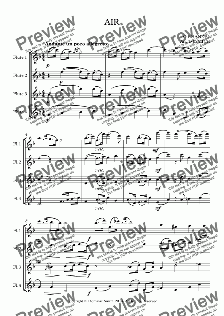 page one of 'Air' from Handel's 'Water Music' (Flute Quartet)