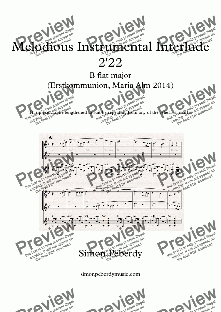 page one of Instrumental Interlude 2'22 for 2 flutes, guitar and/or piano (2014)