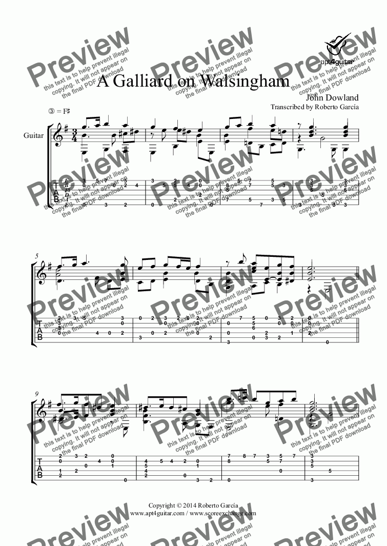 page one of A Galliard on Walsingham for solo guitar