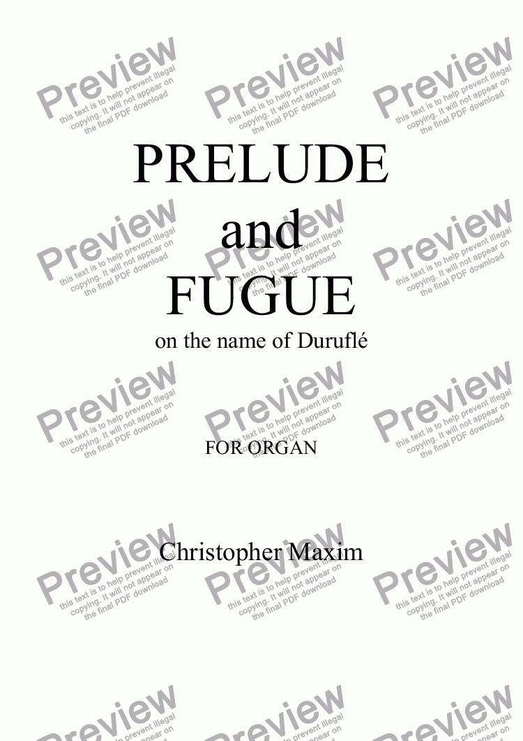 page one of Prelude & Fugue on the name of Duruflé (Organ solo)