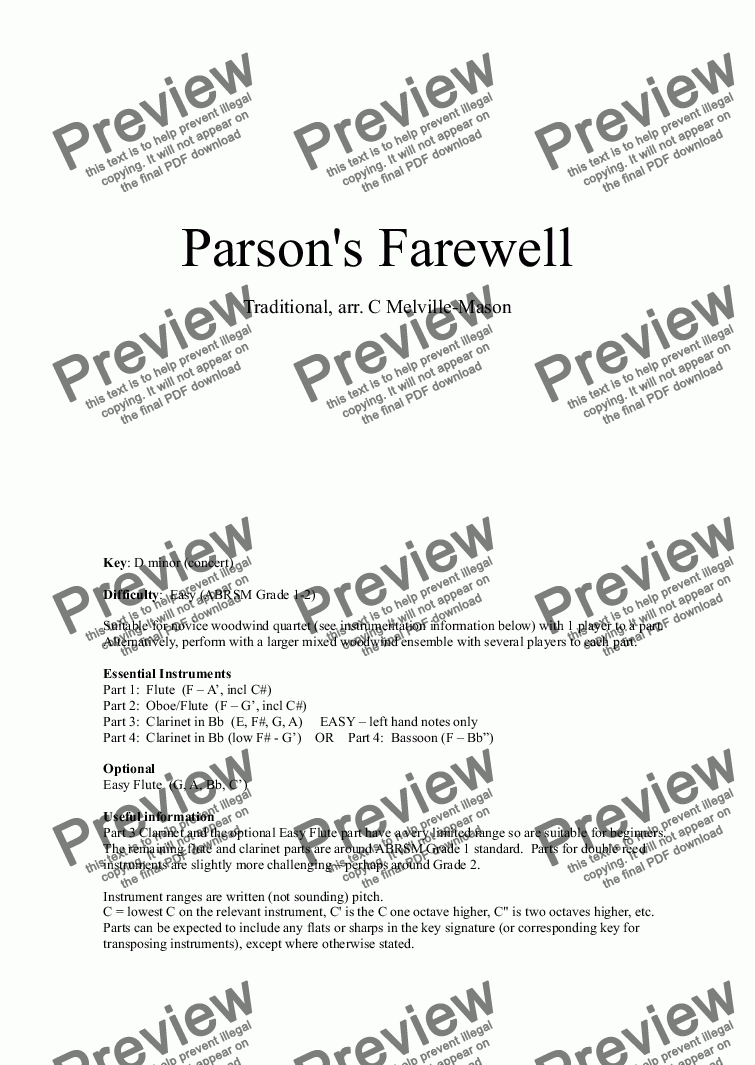 Parson's Farewell (fl, fl/ob, cl, cl/bn) for Wind quartet by Traditional -  Sheet Music PDF file to download