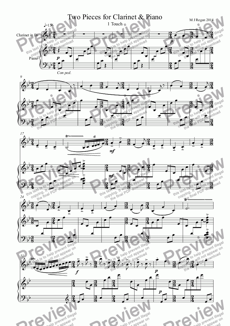 page one of Two Pieces for Clarinet & Piano