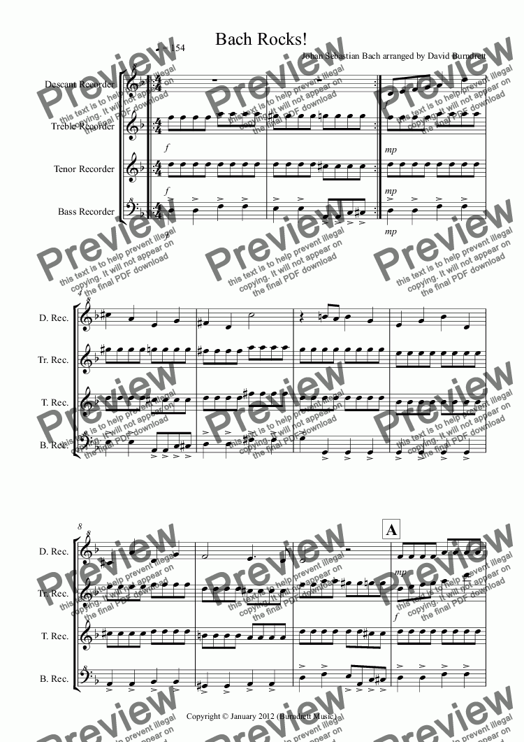 page one of Bach Rocks! for Recorder Quartet