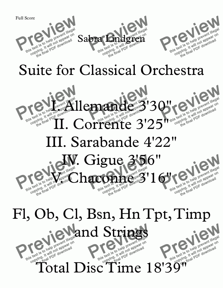 page one of Suite for Classical Orchestra, Appended Scores I. Allemande II. Corrente III. Sarabande IV. Gigue V. Chaconne