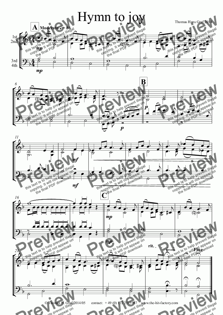 page one of Hymn to joy - Brass Choir ( 4 parts )