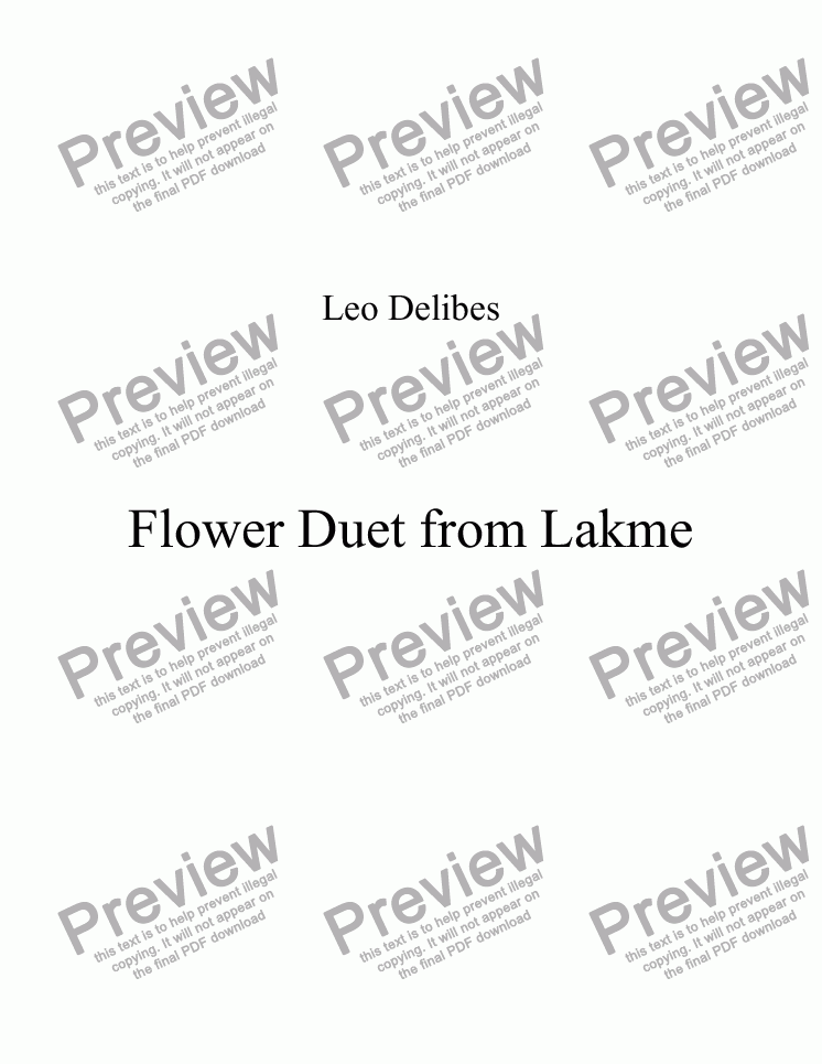 page one of Flower Duet from Lakme (Fl or Ob, Ob, bsn)