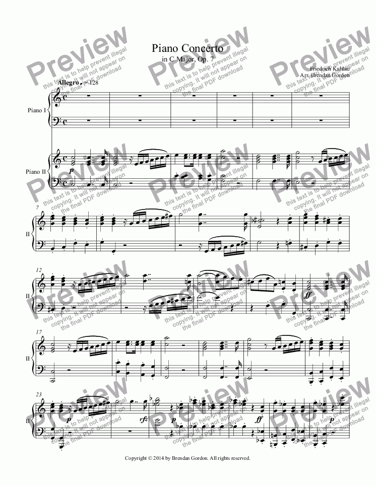 page one of Piano Concerto in C by Friedrich Kuhlau, 2-piano score