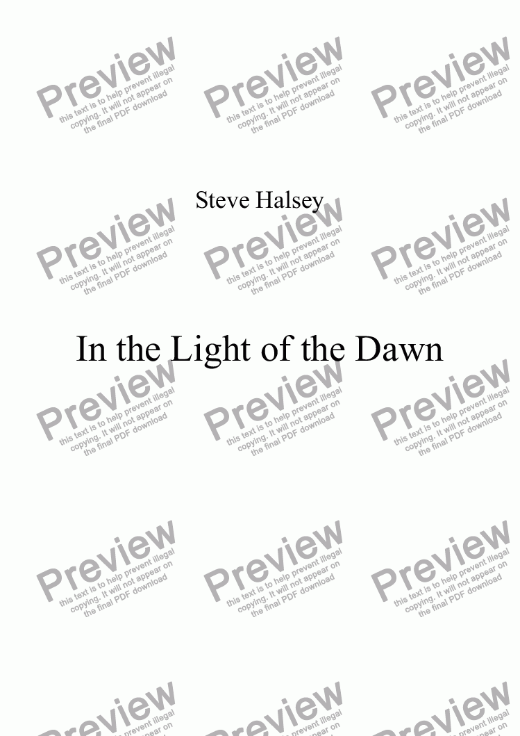 page one of In the Light of the Dawn (Based on the Newburn Lament theme) for Voices and Piano