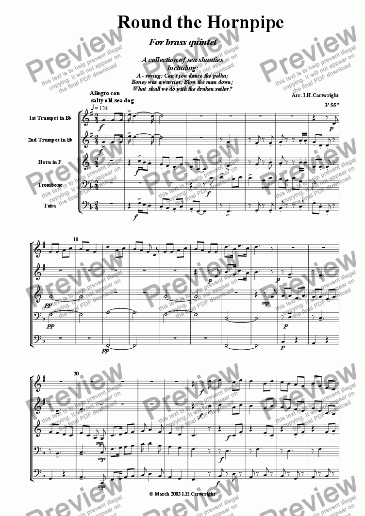 page one of Round the Hornpipe for Brass quintet