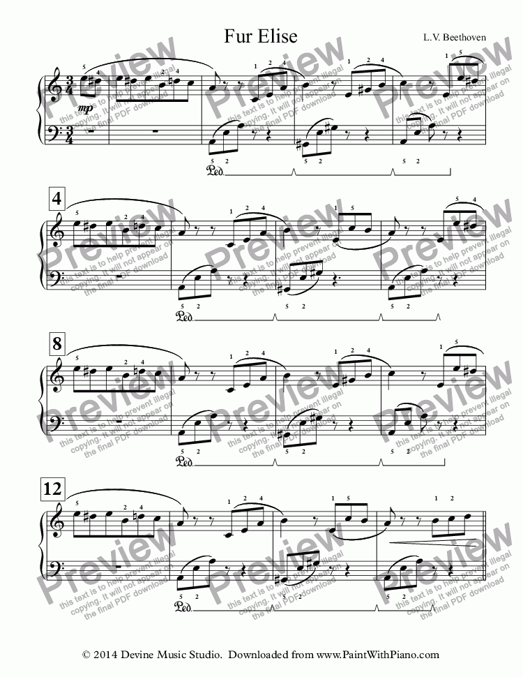 page one of Fur Elise (Easy Piano)