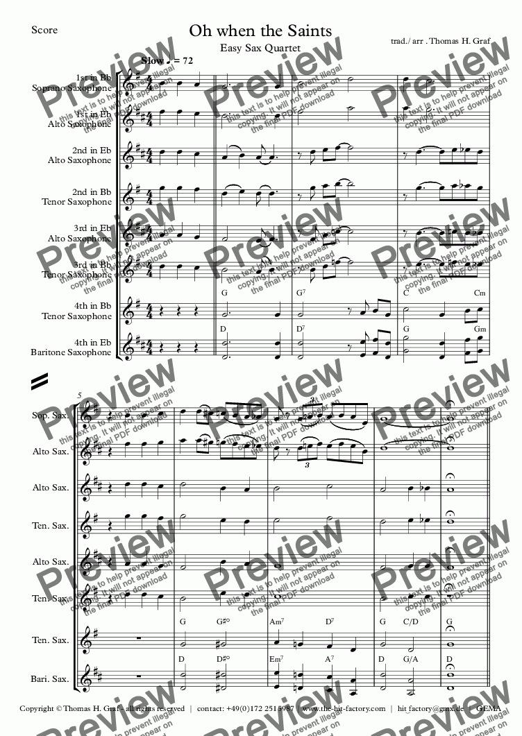 page one of Oh when the Saints - Easy Saxophone Quartet