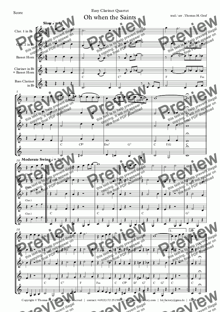 page one of Oh when the saints - Easy Clarinet Quartet