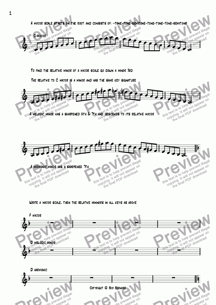 page one of JAZZ Warm up exercises for 12 Bar blues and 32 Bar Sequences