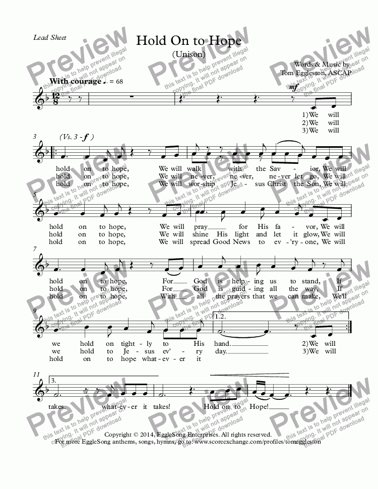 page one of Hold On to Hope (Unison) Lead Sheet
