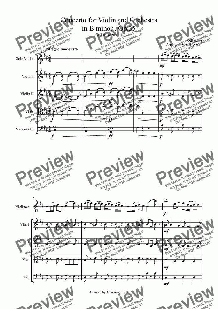 page one of Rieding: Concerto for Violin and Orchestra 3rd movement   in B minor , Op.35