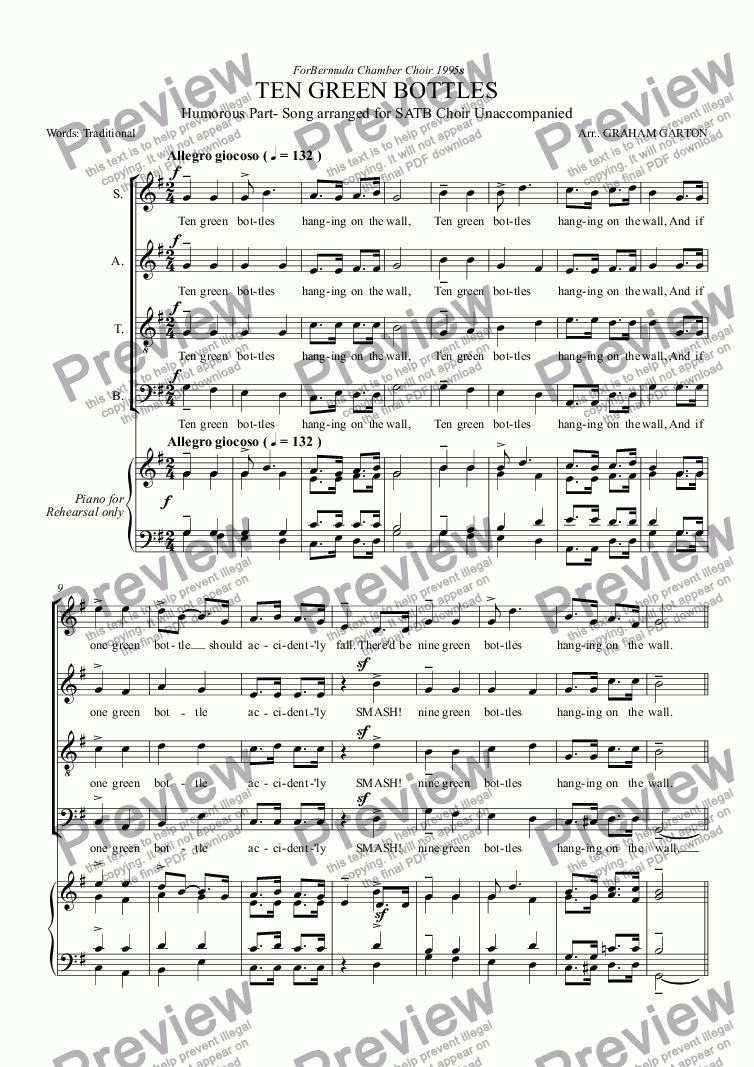 page one of PART-SONG - TEN GREEN BOTTLES Humorous Part-Song for Choir SATB unaccompanied