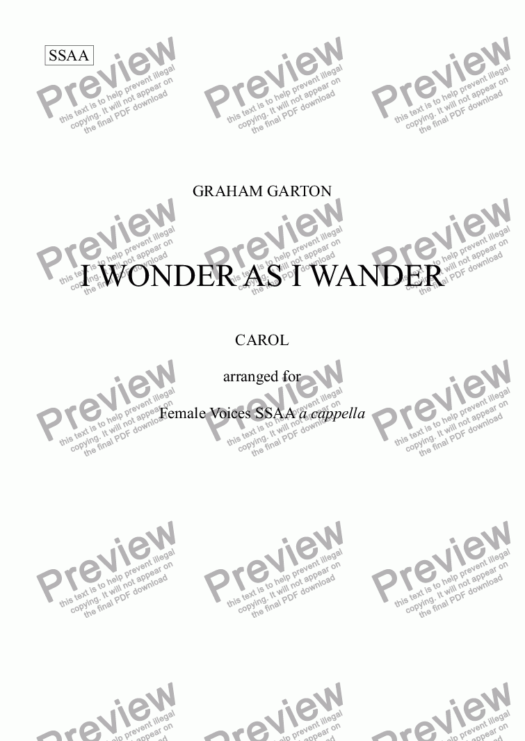 page one of CAROL - 'I WONDER AS I WANDER' Arranged for Choir SSAA a cappella
