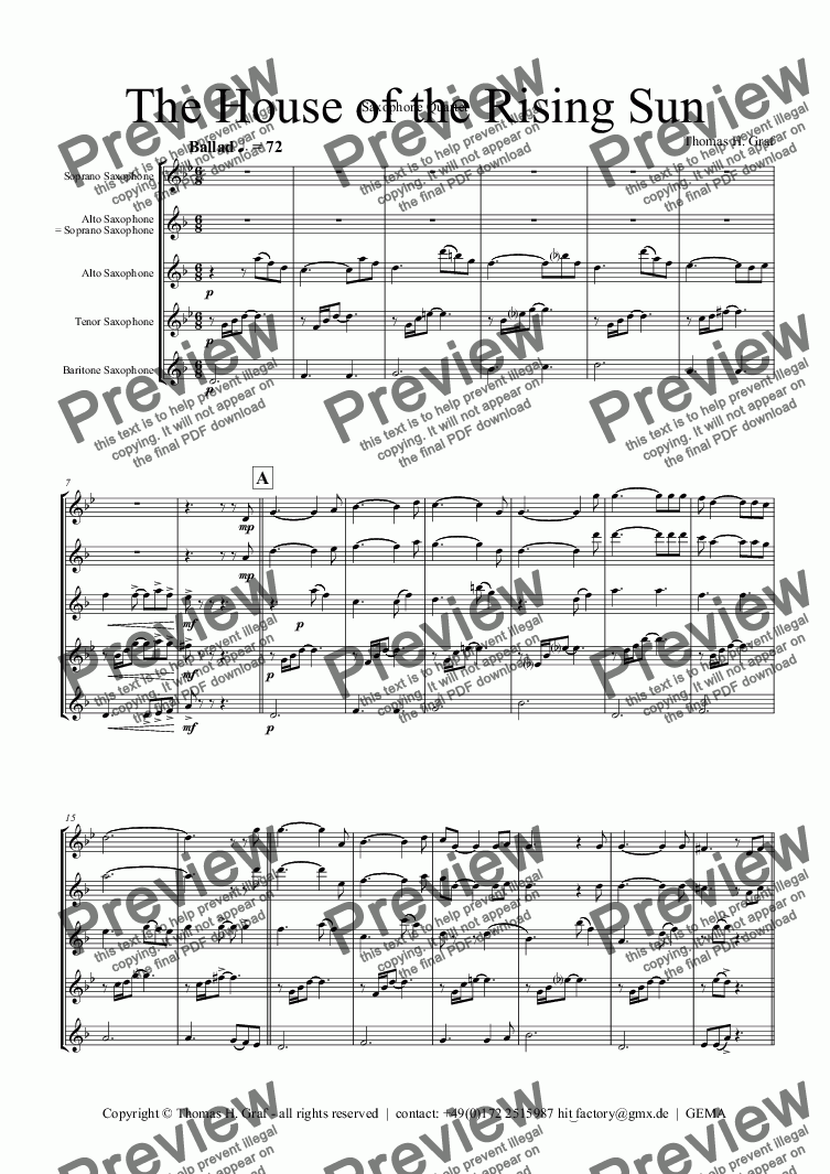 page one of The House of the Rising Sun -Saxophone Quartet