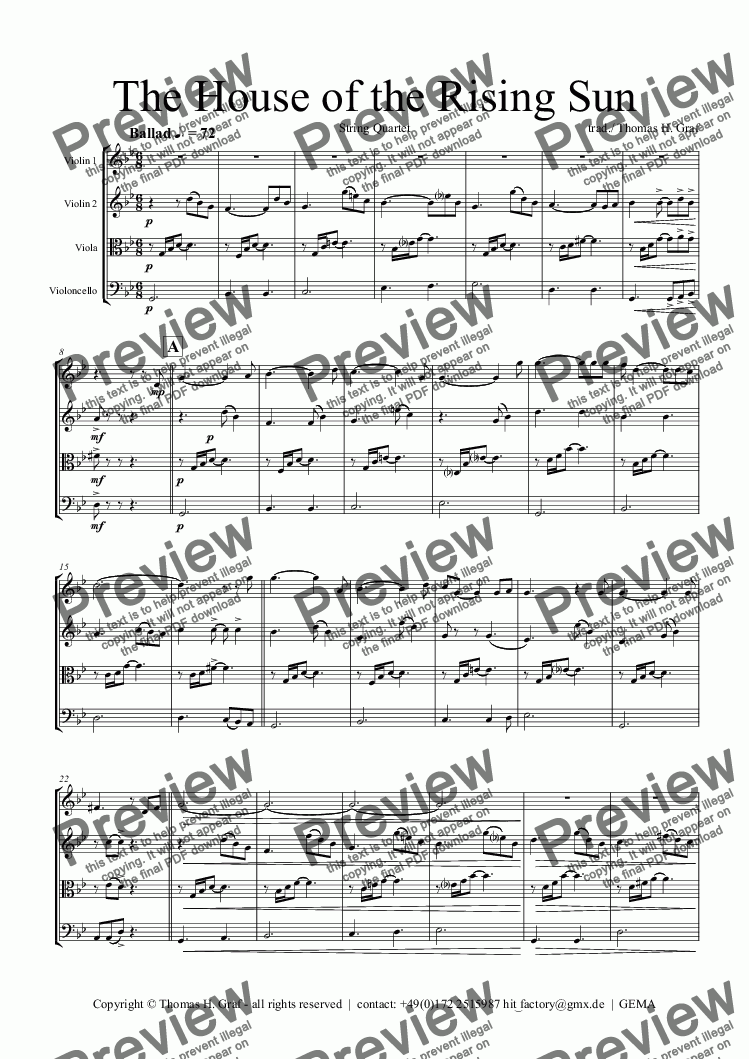page one of The House of the Rising Sun - String Quartet