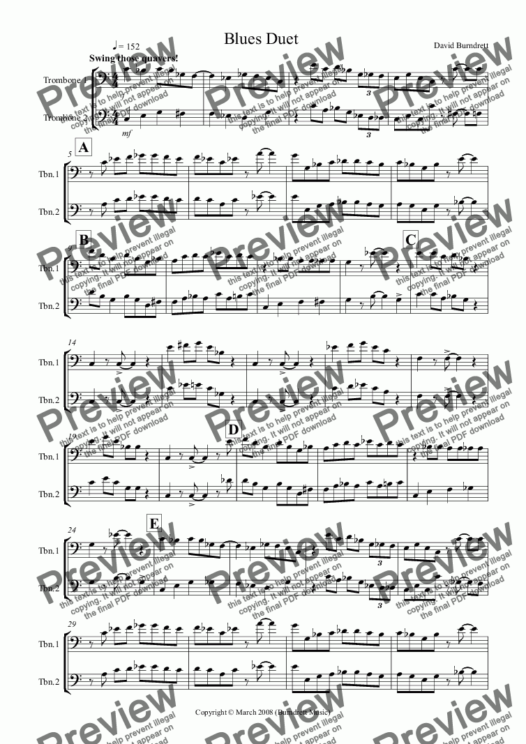 page one of Blues Duet for Trombone