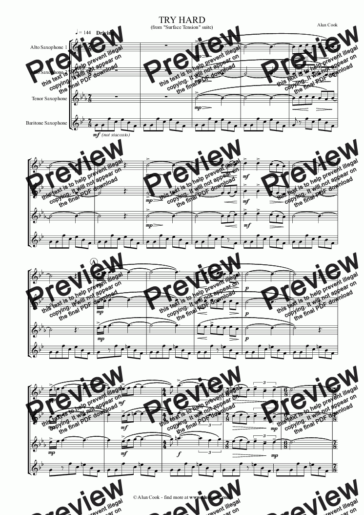 page one of Try Hard (Saxophone Quartet)ASALTTEXT
