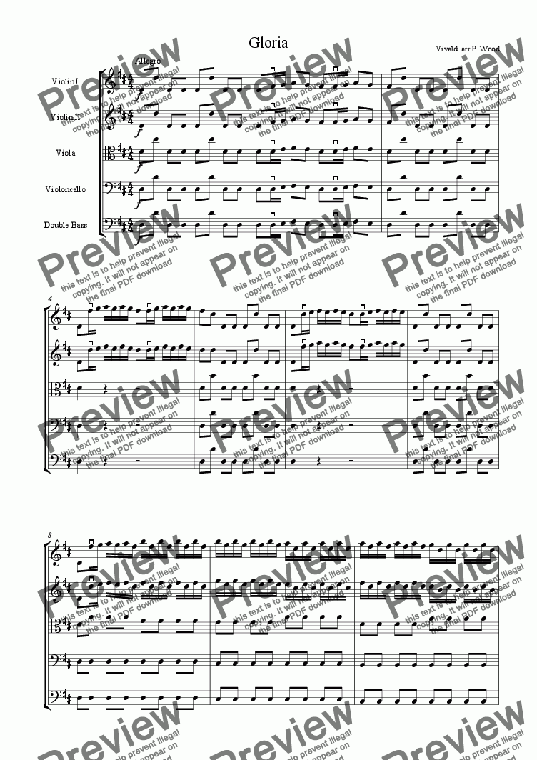 page one of Vivaldi's Gloria for string orchestra