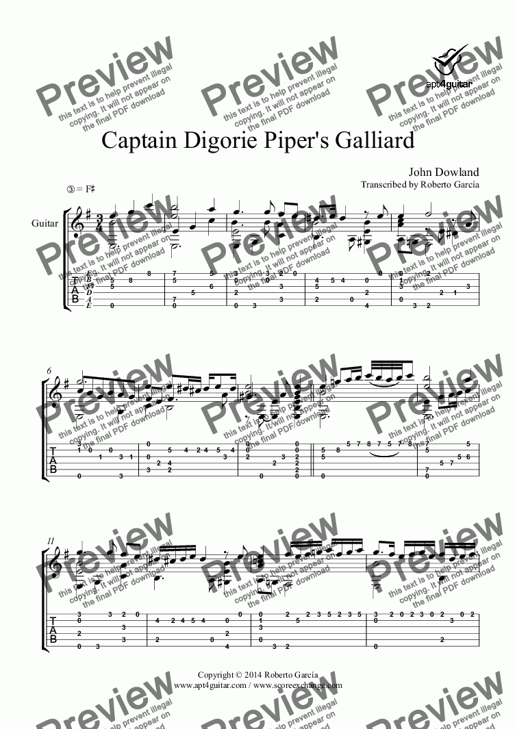 page one of Captain Digorie Piper's Galliard for solo guitar