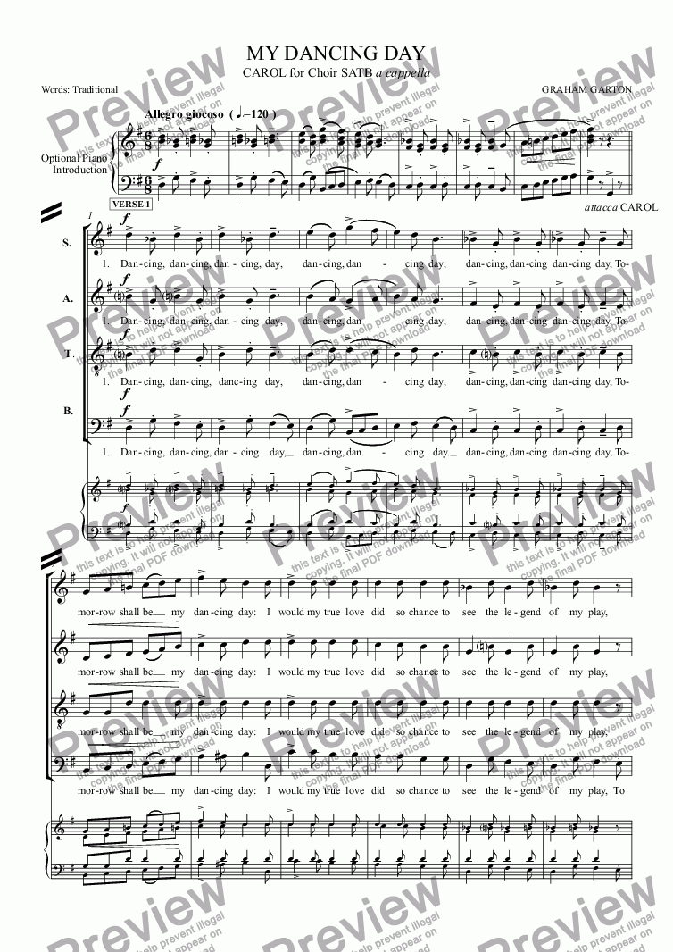 page one of CAROL - 'MY DANCING DAY' New setting for Choir SATB a cappella of 'Tomorrow shall be my dancing day'