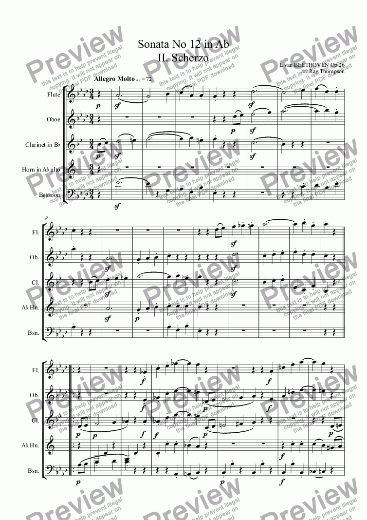 page one of Beethoven: Piano Sonata No 12 in Ab Op.26 Mvt II. Scherzo (arranged wind quintet)ASALTTEXT