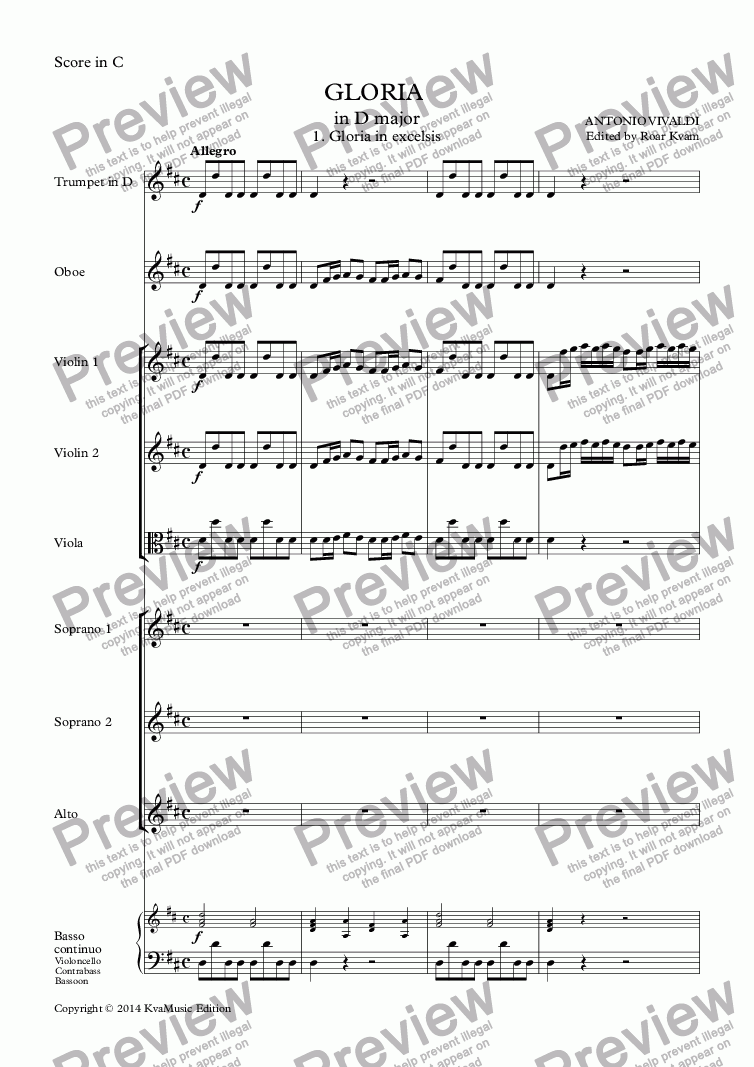 page one of Vivaldi: Gloria in D major (SSA soli, SSA choir with a small orchestra)