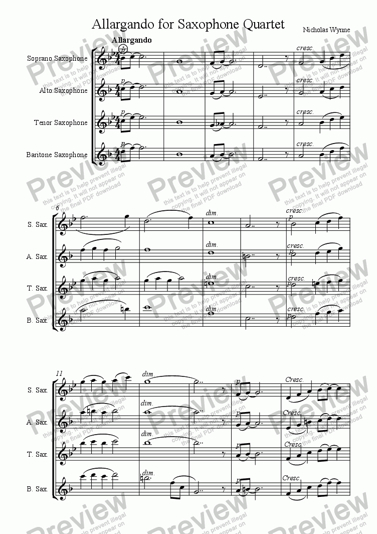 page one of Allargando, 2nd. movement from Suite for Saxophone Quartet