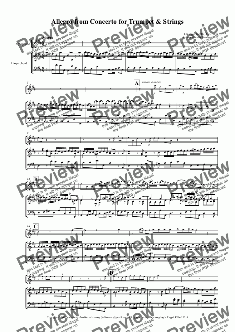 page one of Allegro from the Trumpet Concerto in D arr. for Xylophone/Vibraphone & KB