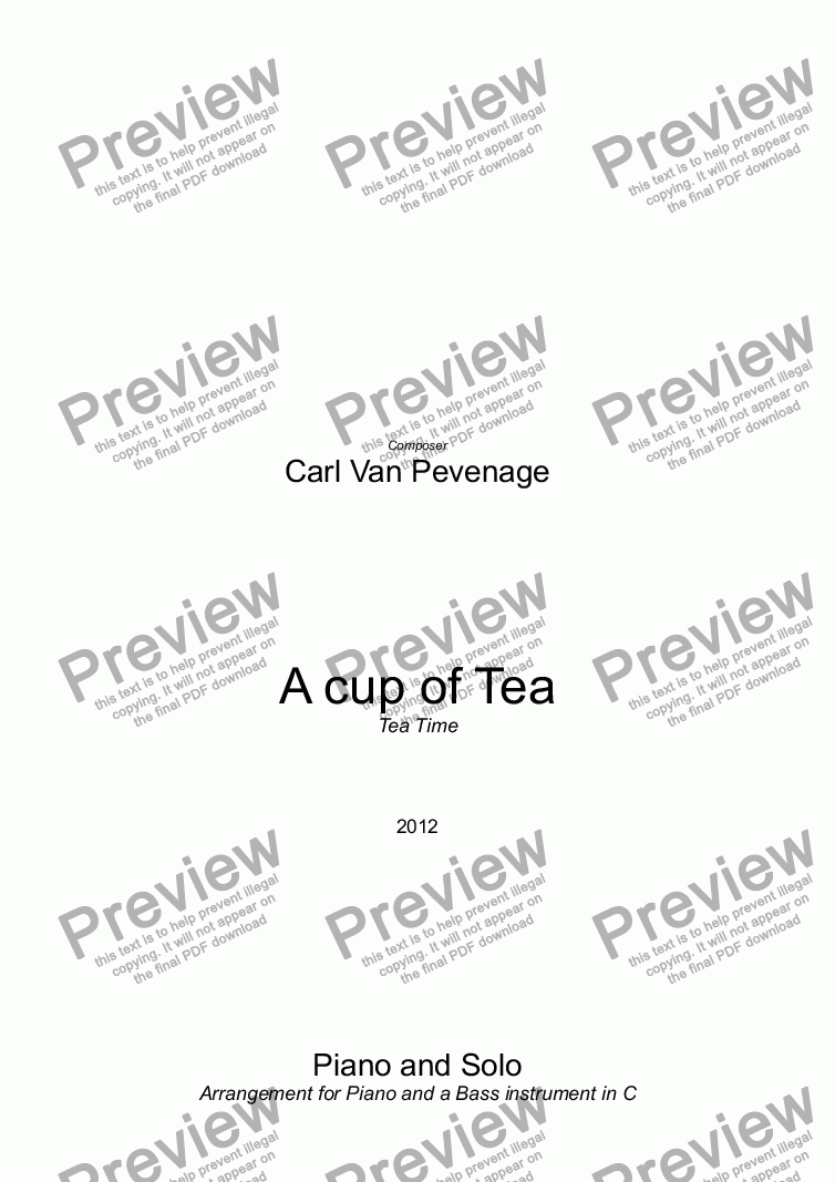 page one of Tea Time - A cup of Tea - Piano and Solo