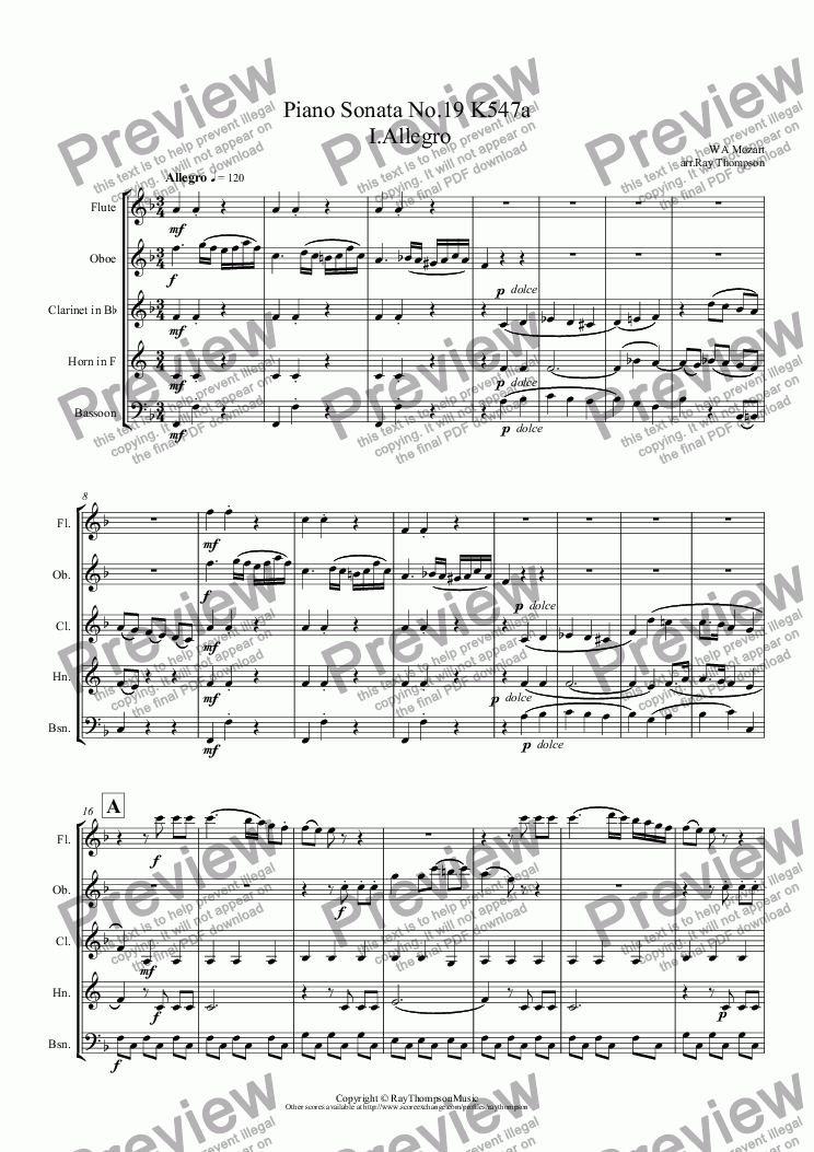 page one of Mozart: Piano Sonata No.19 in F K547a Movt I.Allegro (arr.wind quintet)