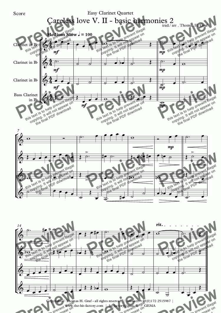 page one of Careless love V. II - Clarinet Quartet