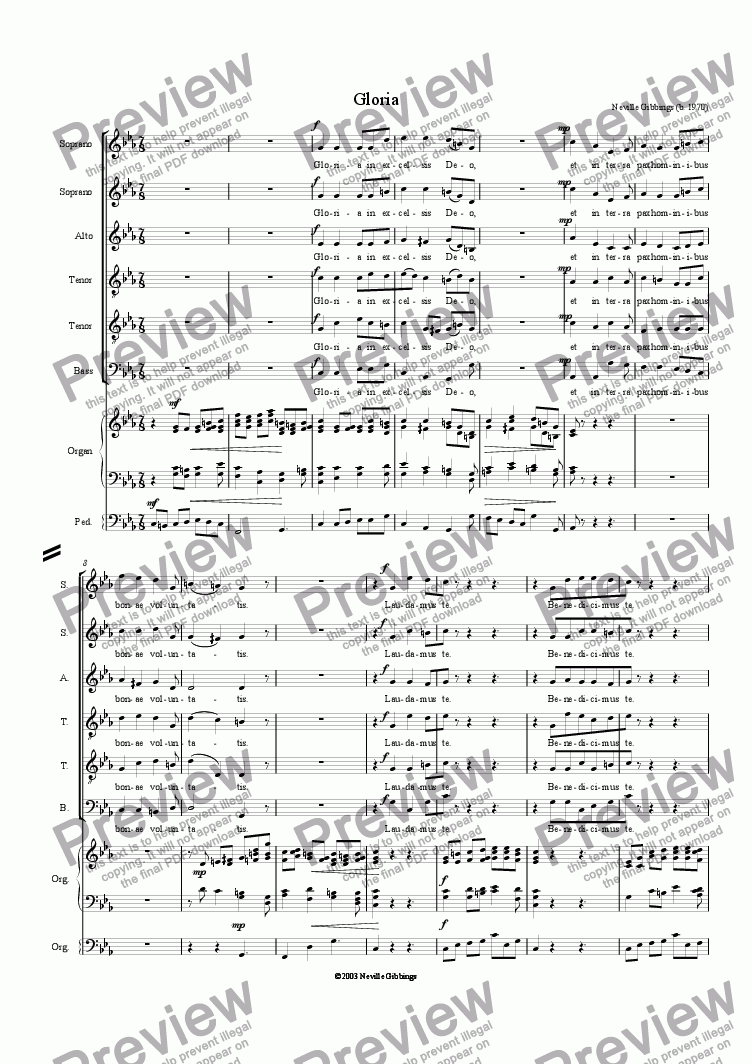page one of Gloria - Mass for Six VoicesASALTTEXT