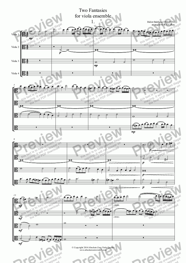 page one of Bakfark - TWO FANTASIES - for viola ensemble