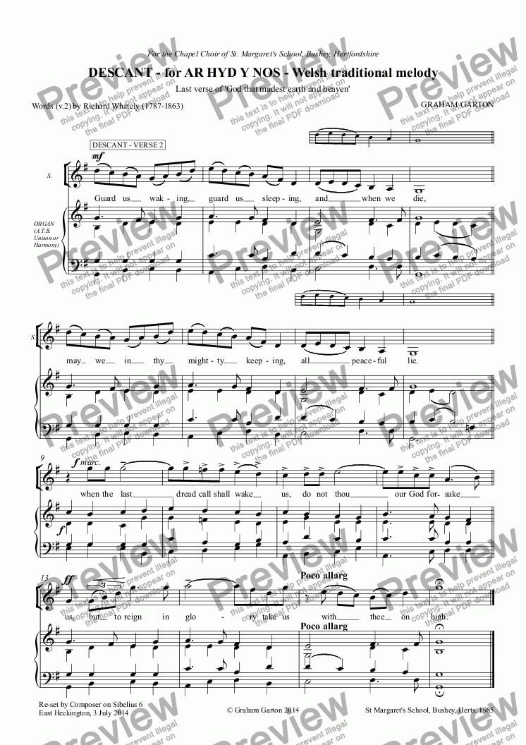 page one of DESCANT - for AR HYD Y NOS - Welsh traditional melody 'God that madeth earth and heaven' verse 2. Spot the exciting record-breaking melodic leap of two octaves G3-G5!