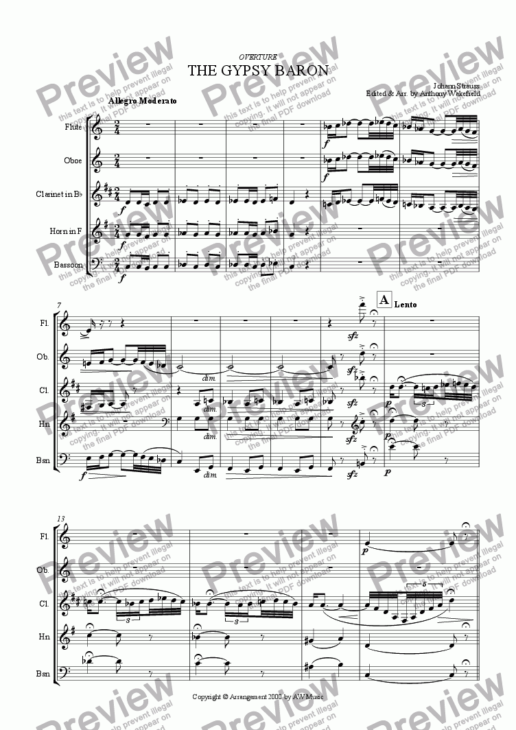 page one of Overture - The Gypsy Baron