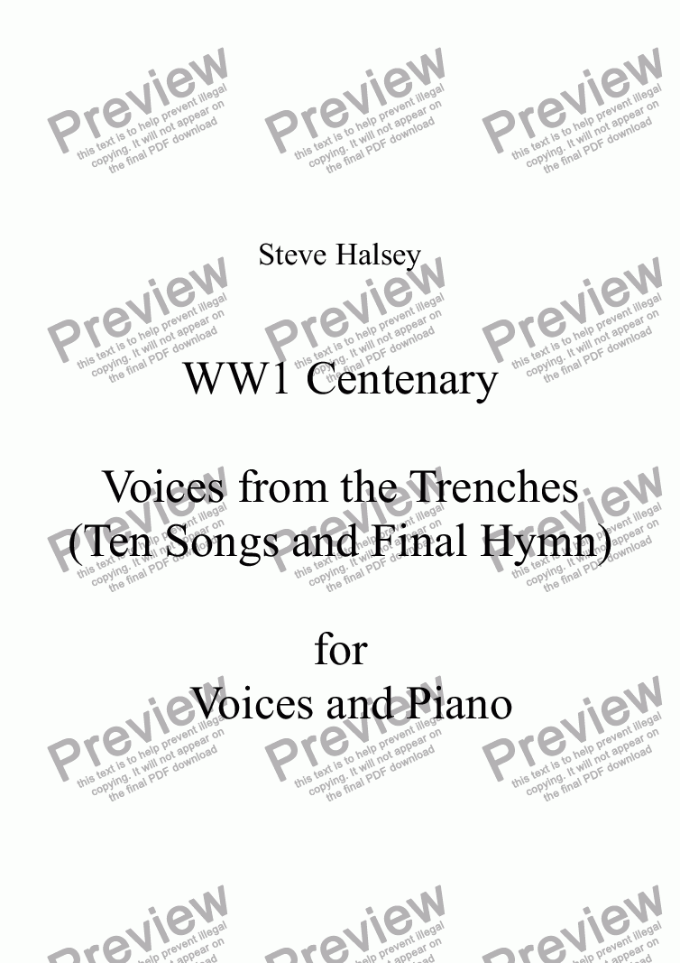 page one of Voices from the Trenches
