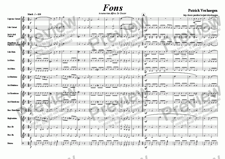 page one of Fons (march for brass band)